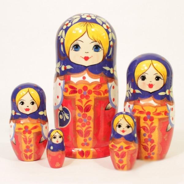 "Matryoshka ""Rote Sarafan"" 5tlg - 18cm, Chochloma"