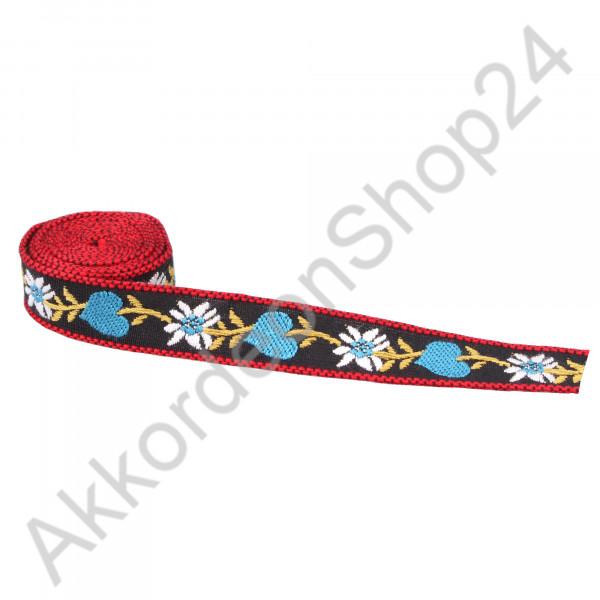 17mm black strap, blue heart design