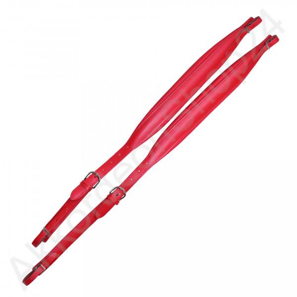 Shoulder straps 37/41, 6,5x74-98cm, leather red
