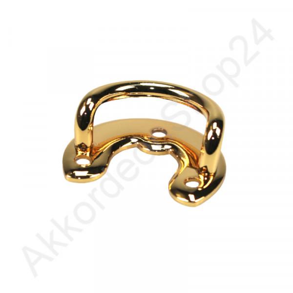 Strap bracket U-shaped with base plate, gold colour