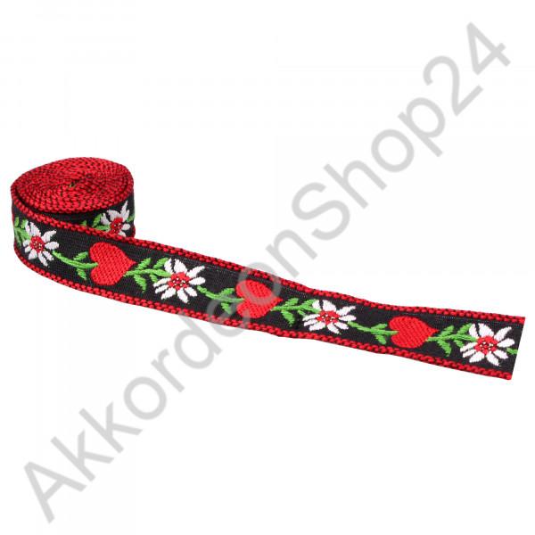 17mm black strap, red heart design